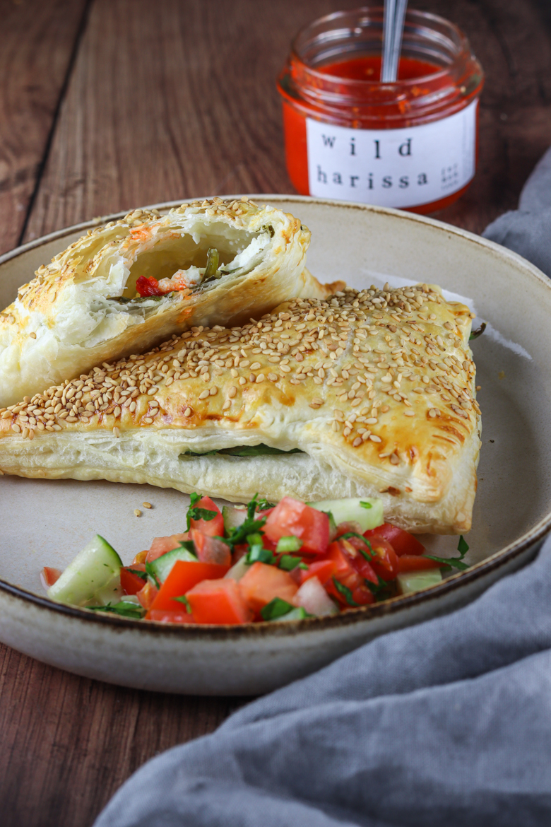 Bourekas are crispy and buttery pockets of full pastry filled with creamy mashed potatoes or salty feta with fresh spinach.